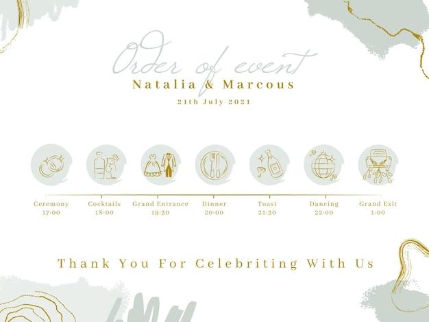 Samenvatting geschilderde monocolor bruiloft tijdlijn