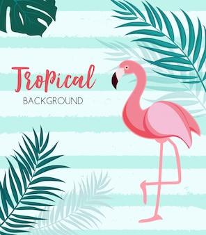 Samenvatting tropisch met flamingo en palmbladen