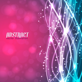 Samenvatting vage roze en blauwe achtergrond met tekst en gloeiende witte draden en schittert