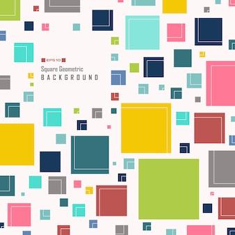 Samenvatting van eenvoudige kleurrijke vierkante geometrische patroon