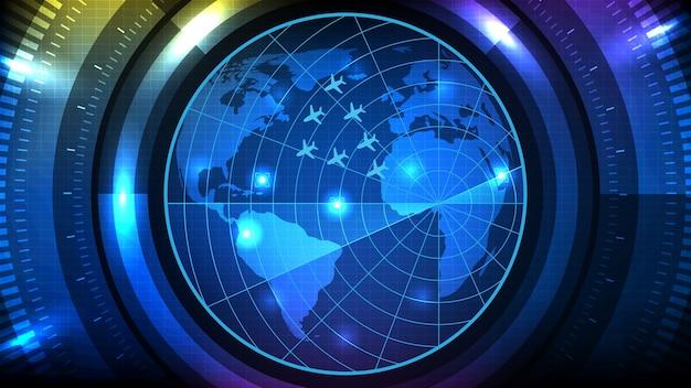 Samenvatting van futuristische technologie scherm scan vlucht radar vliegtuig route pad met wereldkaarten