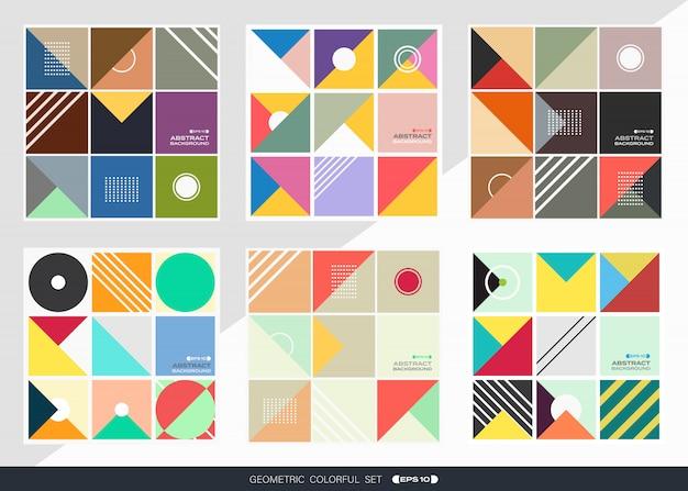 Samenvatting van geometrische patroonachtergrond die in vierkante vorm wordt geplaatst.