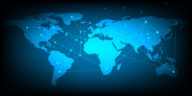 Samenvatting van het concept van het wereldnetwerk globale zaken die als achtergrond en behang gebruiken.