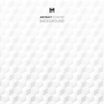 Samenvatting van kubus geometrische grijze en witte achtergrond