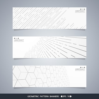 Samenvatting van moderne geometrische lijnbanners.
