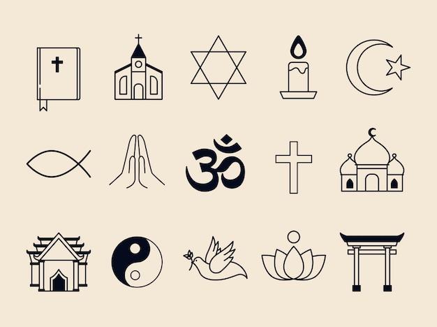 Samenvloeiing van geïllustreerde religieuze symbolen