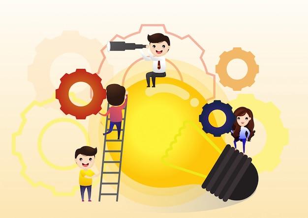Samenwerken aan het vinden van nieuwe ideeën, kleine mensen lanceren een mechanisme, zoeken naar nieuwe oplossingen, creatief werk