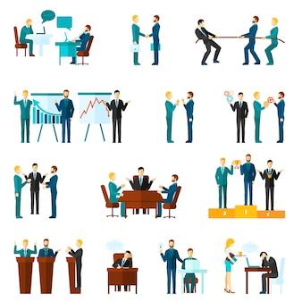 Samenwerking icons set