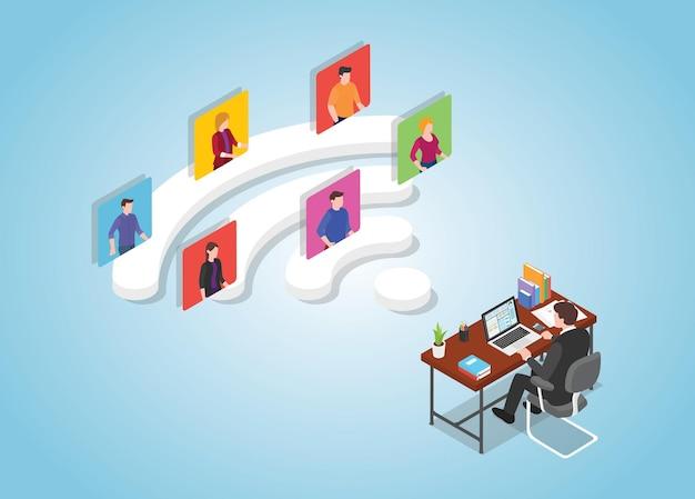 Samenwerking op afstand werkt digitaal concept