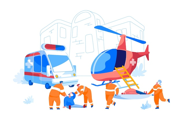 Samenwerking tussen air rescue service en emergency medical service on ground. paramedici dragen brancard met patiënt naar ambulanceauto, evacuatie van mensen. tekenfilm