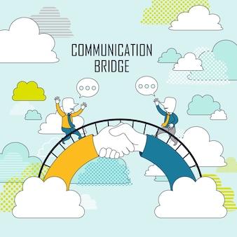 Samenwerkingsconcept: twee zakenlieden op communicatiebrug in lijnstijl