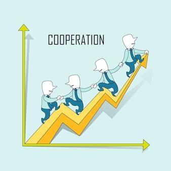 Samenwerkingsconcept: zakenlieden rijden op een opgroeiende pijl in lijnstijl