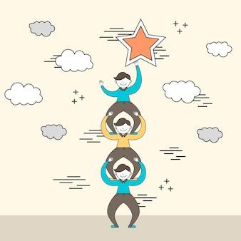 Samenwerkingsconcept: zakenman die een stralende ster in lijnstijl bereikt