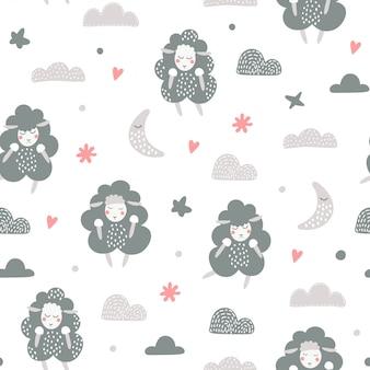 Samless patroon met schattige lammeren.
