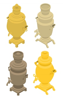 Samovar iconen set, isometrische stijl
