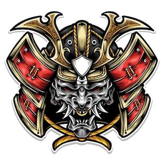 Samurai armor met masker-logo