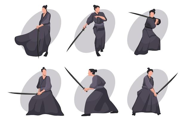 Samurai cartoon tekenset. japanse ridder, krijger in zwarte kimono met katanazwaard