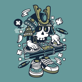 Samurai dj cartoon
