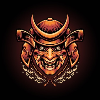 Samurai duivel masker japanse illustratie