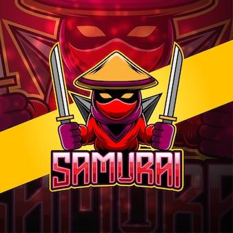 Samurai esport mascotte logo ontwerp