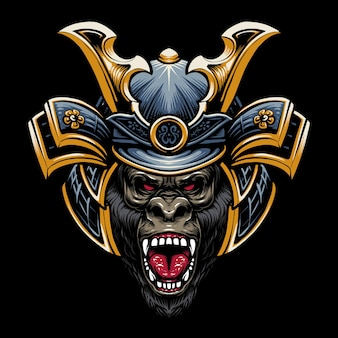 Samurai gorilla hoofd afbeelding ontwerp