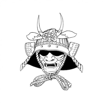 Samurai helm simple line art