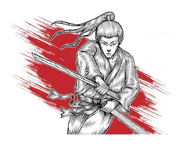 Samurai in actie, hand getrokken illustratie