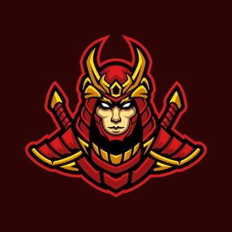 Samurai in red armor illustration esport mascot