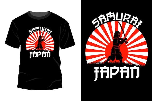 Samurai japan t-shirt mockup ontwerp vintage retro