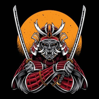 Samurai katana vectorillustraties houden
