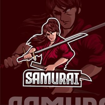 Samurai krijger esport logo-ontwerp