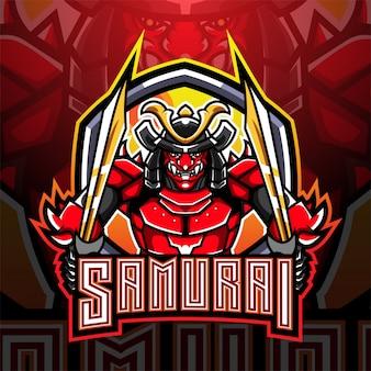 Samurai krijger esport mascotte logo ontwerp