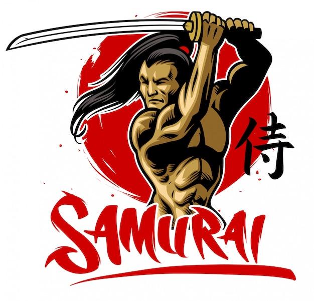 Samurai krijger in gespierd lichaam houdt de samurai katana vast