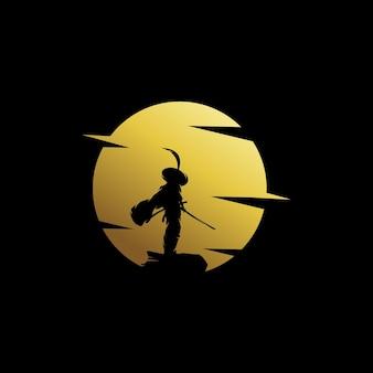 Samurai maan logo ontwerp illustratie