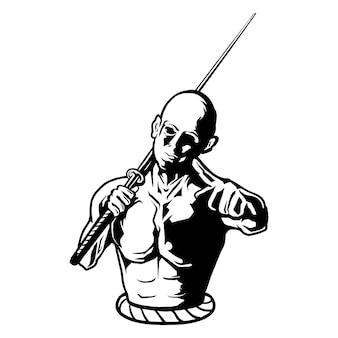 Samurai man vectorillustratie