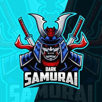 Samurai mascotte esport logo ontwerp