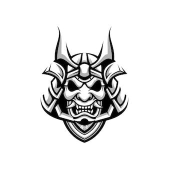 Samurai mascotte ontwerp zwart en wit