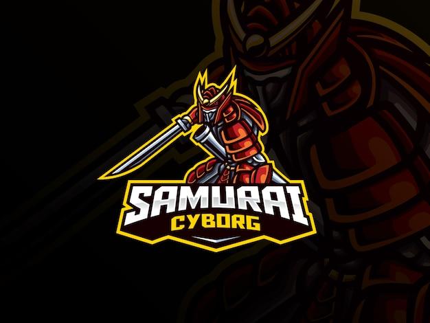 Samurai mascotte sport logo ontwerp