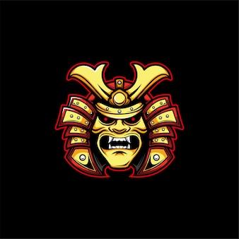 Samurai masker ontwerp t-shirt e sport logo japan