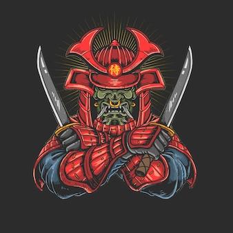 Samurai met katana illustratie