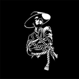 Samurai met zijn twee zwaarden gerelateerde vetgedrukte illustratie