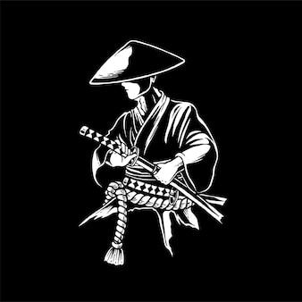 Samurai met zijn zwaarden gerelateerde vetgedrukte illustratie