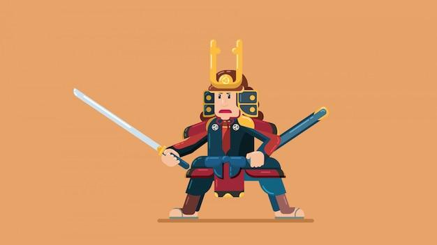 Samurai oefenen zwaarden op leeg land