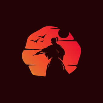 Samurai op zonsondergangillustratie