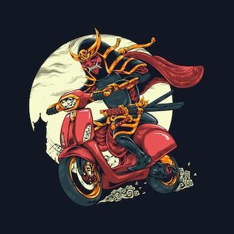Samurai paardrijden illustratie