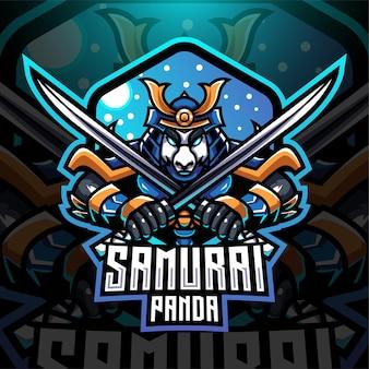 Samurai panda esport mascotte logo