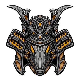 Samurai robot geel masker