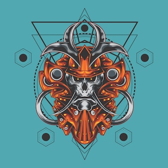 Samurai schedel heilige geometrie
