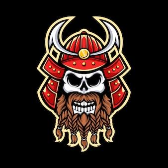 Samurai schedel mascotte logo geïsoleerd