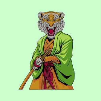 Samurai tijger ontwerp illustratie